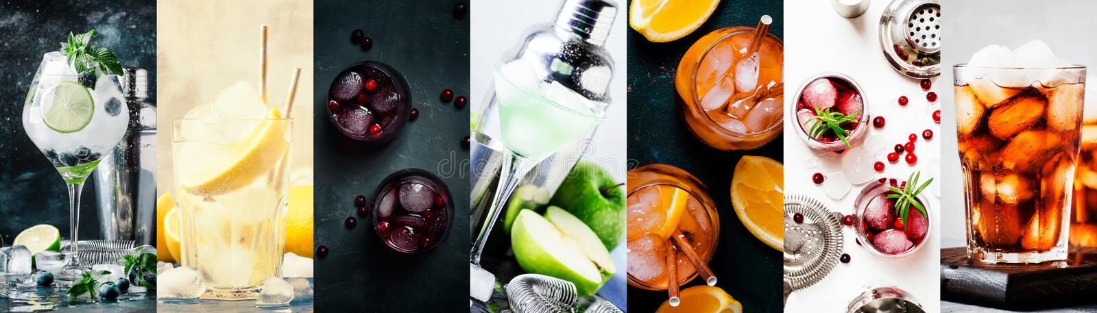 Alcoholic cocktails with strong drinks, soda, berries and fruit in assortment. Close-up. Photo collage stock photo