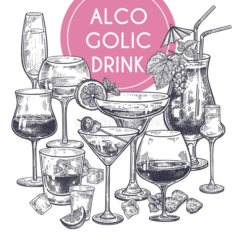 Alcoholic drinks poster. Glass of champagne, margarita, brandy, whiskey with ice, cocktail, wine, vodka, tequila and cognac. Black and white vintage engraving stock illustration