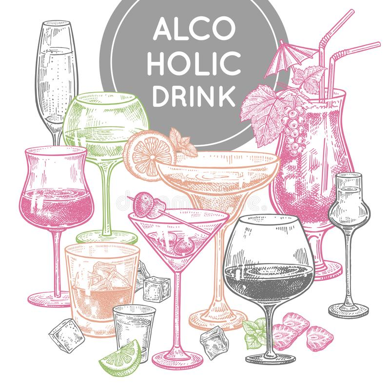 Alcoholic drinks poster. Glass of champagne, margarita, brandy, whiskey with ice, cocktail, wine, vodka, tequila and cognac. Color vintage engraving. Hand vector illustration