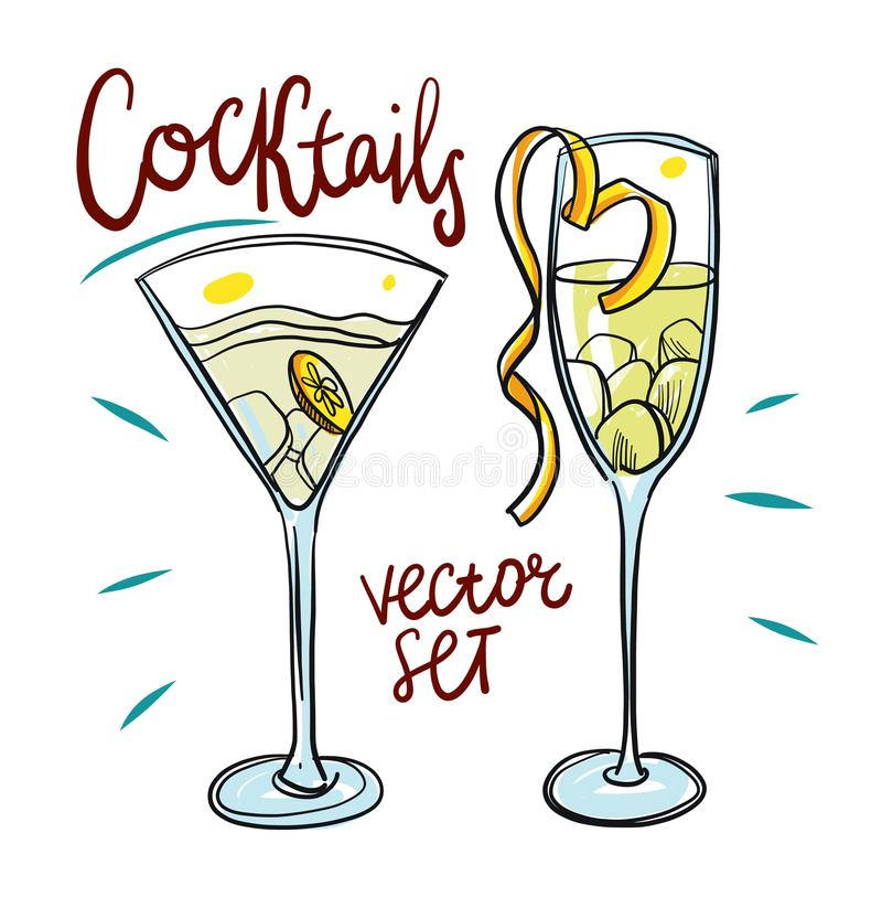 Alcoholic drinks set. Hand drawing illustration on white background. royalty free illustration