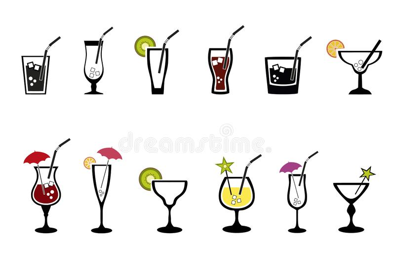 Alcoholic drinks set. Glass of champagne, margarita, brandy, whiskey with ice, cocktail, wine, vodka, tequila and cognac. Isolated vector illustration