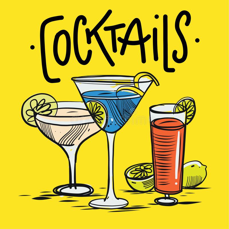 Alcoholic drinks set. Hand drawing vector illustration on yellow background. royalty free illustration