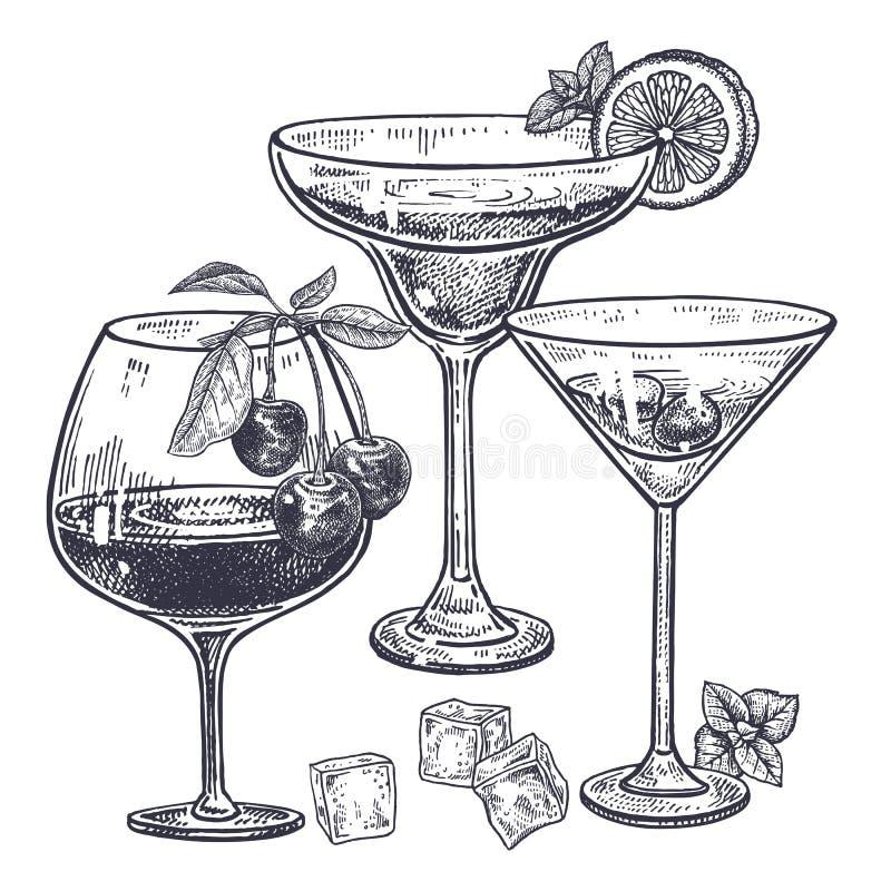 Alcoholic drinks set. Margarita, brandy and liquor in wineglass, ice, cherries, mint, lemon. Isolated on white background. Black and white vintage engraving stock illustration