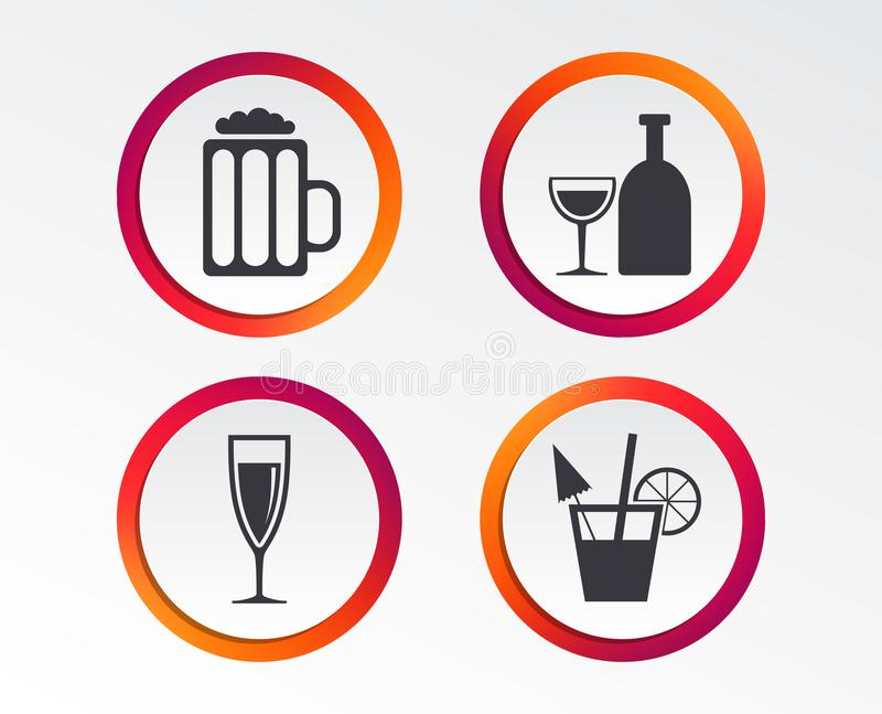 Alcoholic drinks signs. Champagne, beer icons. royalty free illustration