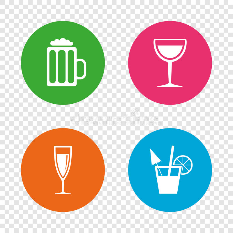Alcoholic drinks signs. Champagne, beer icons. Alcoholic drinks icons. Champagne sparkling wine and beer symbols. Wine glass and cocktail signs. Round buttons royalty free illustration