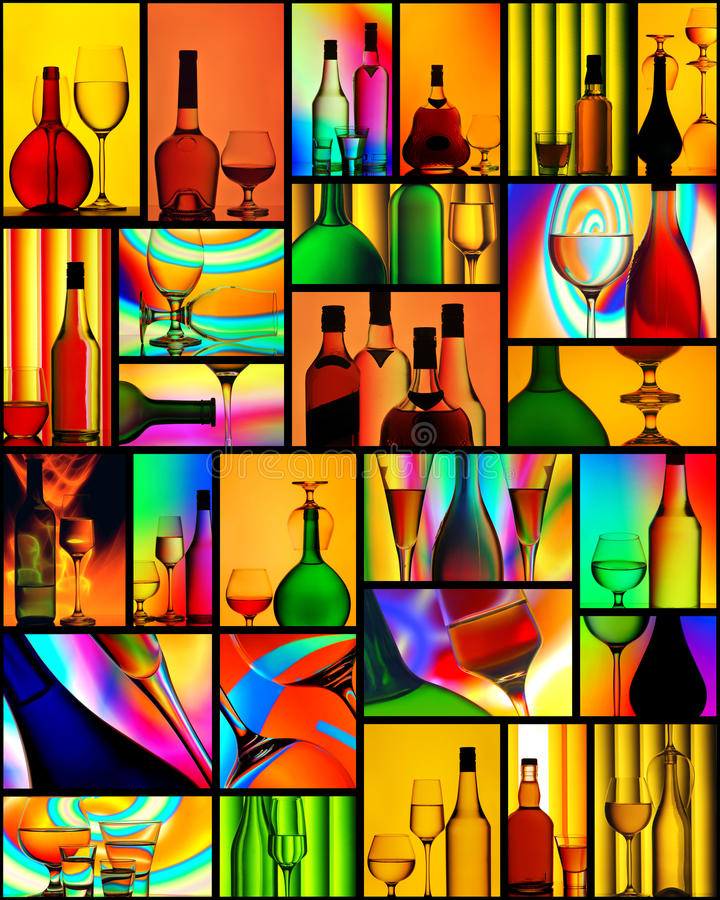 Free Alcoholic Drinks Wine Glass Collage Stock Photos - 28078943