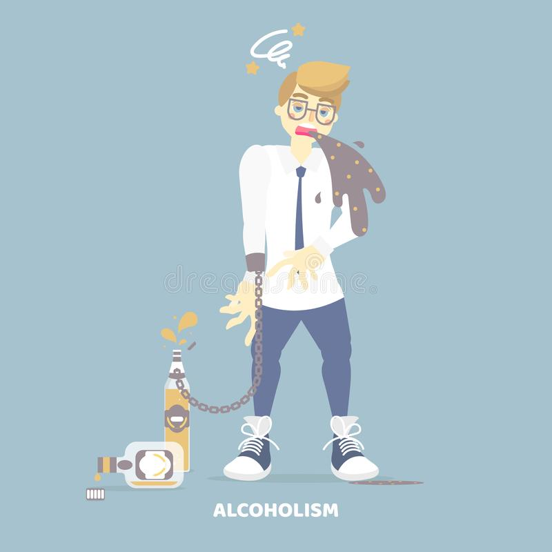 Alcoholic drunk man vomiting, having dizziness, holding bottle of alcohol, health care disease, alcoholism concept. Flat vector illustration cartoon character stock illustration