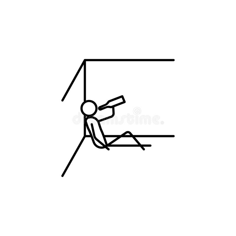 Alcoholic outline icon. Element of lazy person icon for mobile concept and web apps. Thin line icon alcoholic can be used for web. And mobile on white vector illustration