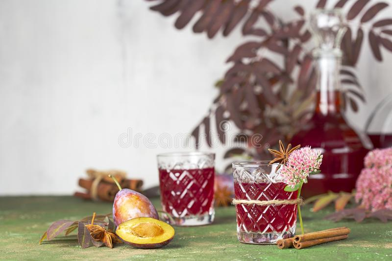 Alcoholic plum tincture stock photography