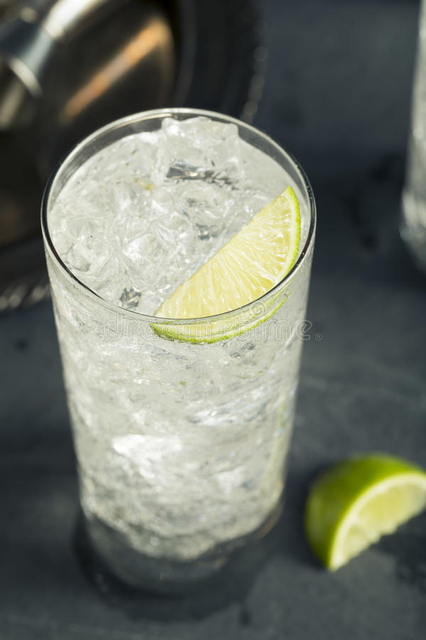 Alcoholic Vodka Tonic Highball Cocktail. With a Lime Garnish stock photo