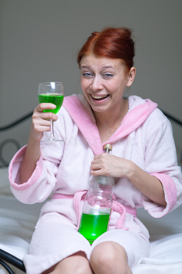 Alcoholic Woman Stock Image