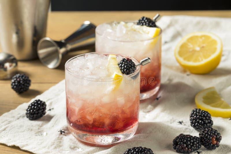Alcoholisch Blackberry Gin Bramble Cocktail royalty-vrije stock afbeeldingen