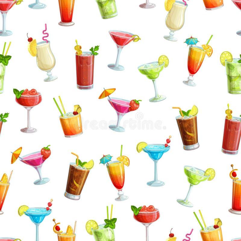 Alcoholisch cocklails naadloos patroon royalty-vrije illustratie