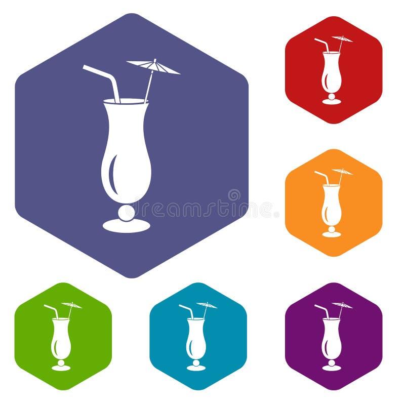 Alcoholisch cocktailpictogram, eenvoudige stijl stock illustratie