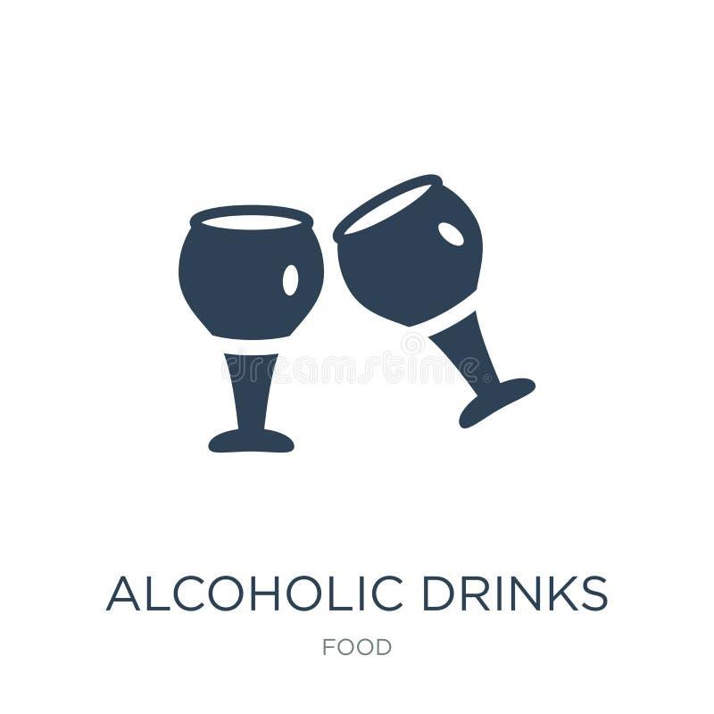 alcoholisch drankenpictogram in in ontwerpstijl alcoholisch die drankenpictogram op witte achtergrond wordt geïsoleerd alcoholisc royalty-vrije illustratie