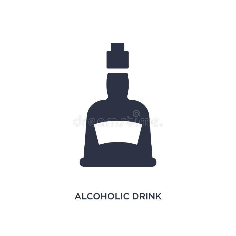 alcoholisch drankpictogram op witte achtergrond Eenvoudige elementenillustratie van snel voedselconcept stock illustratie