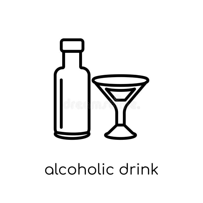Alcoholisch drankpictogram van Drankeninzameling vector illustratie