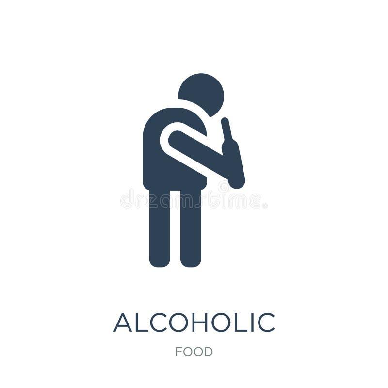 alcoholisch pictogram in in ontwerpstijl alcoholisch die pictogram op witte achtergrond wordt geïsoleerd alcoholische vectorpicto royalty-vrije illustratie