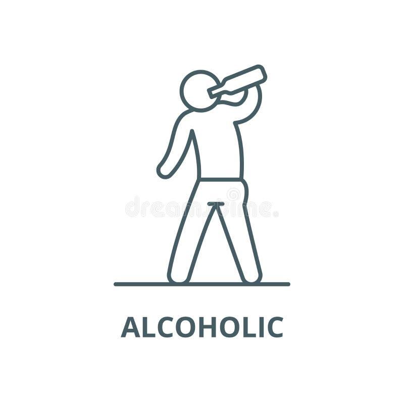 Alcoholisch vectorlijnpictogram, overzichtsconcept, lineair teken stock illustratie