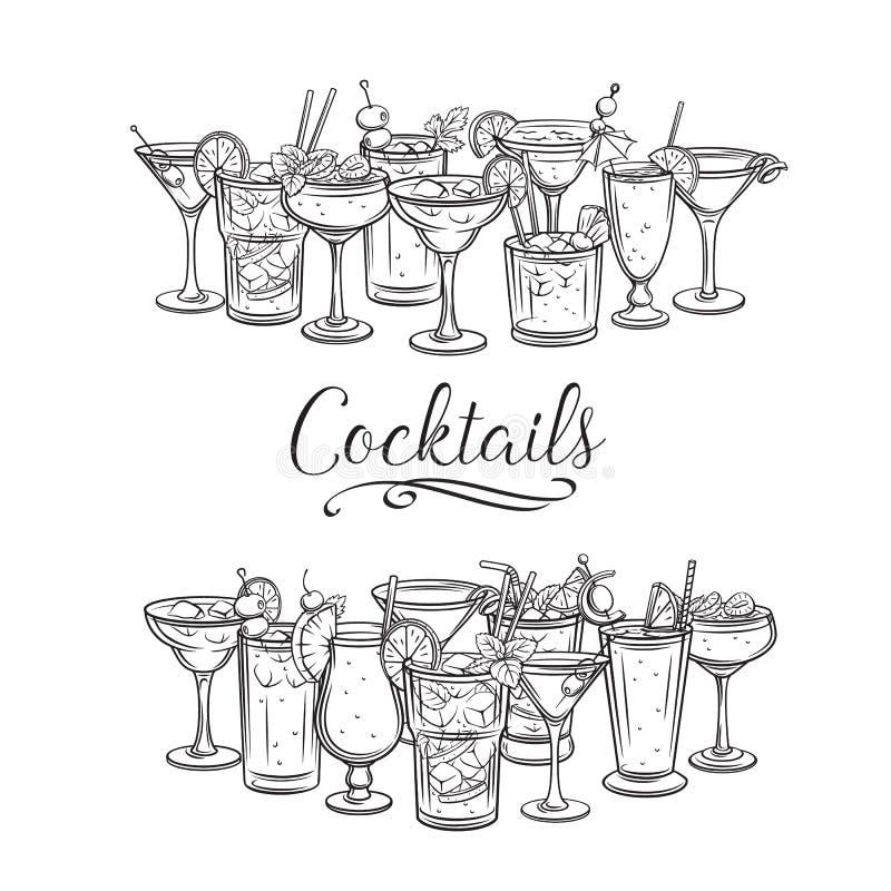 Alcoholische cocklailsbanners royalty-vrije illustratie