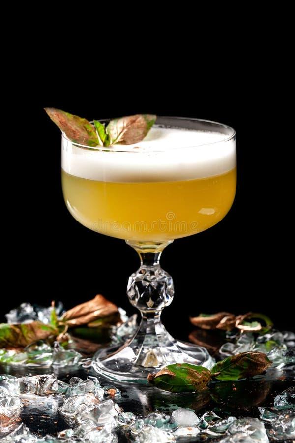 Alcoholische dranken en cocktails voor bars en restaurants met ijs op een zwarte achtergrond in glasglazen stock foto's