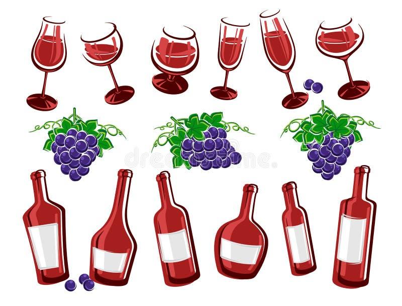 Alcoholische glasinzameling Vector royalty-vrije illustratie