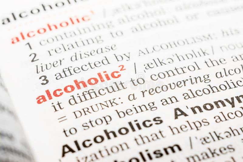 Alcoholische Word Definitie royalty-vrije stock afbeelding