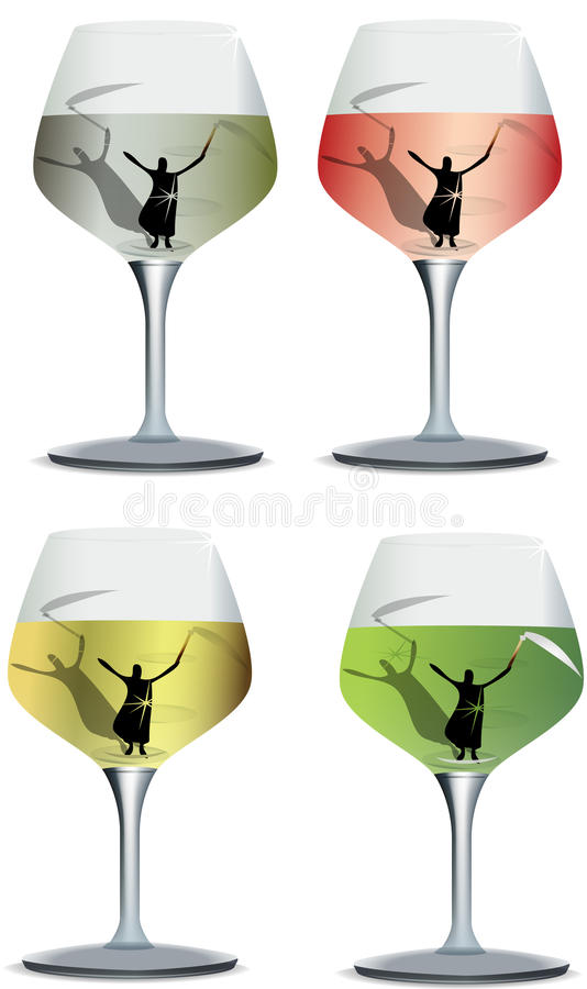 Alcoholism. Death at the bottom of a wine glass with wine stock illustration