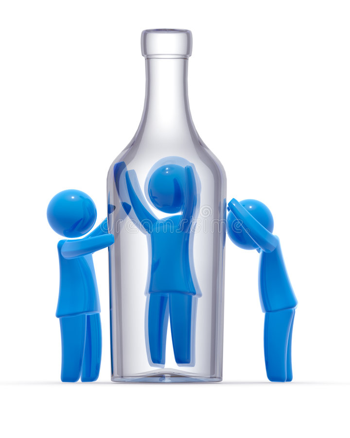 Alcoholism. Man trapped in bottle and other two persons mourns for him. Concept of alcoholism and addiction royalty free illustration