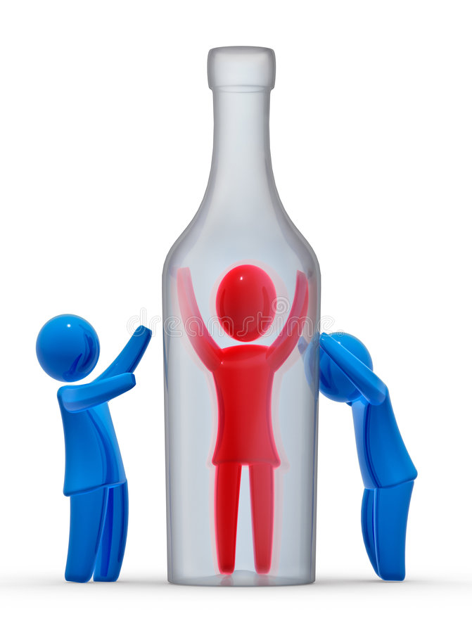 Alcoholism. Man trapped in bottle and other two persons mourns for him. Concept of alcoholism and addiction stock illustration