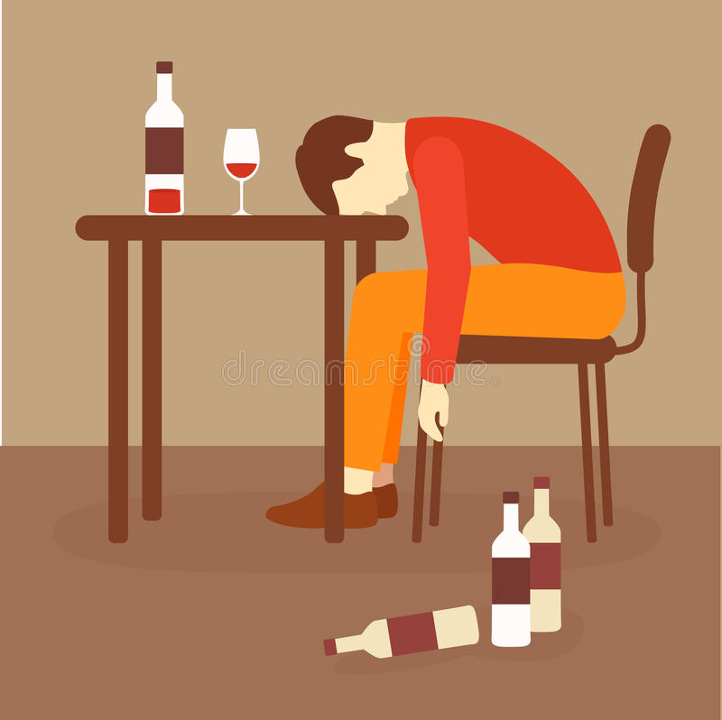 Alcoholism, alcohol addiction. Drunk alcoholic, depression problem stock illustration