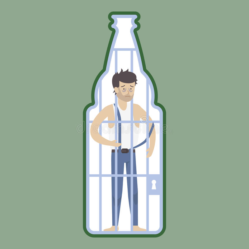 Alcoholism concept illustration. Alcoholic in bottle jail, locked. Drunk sad addicted man royalty free illustration