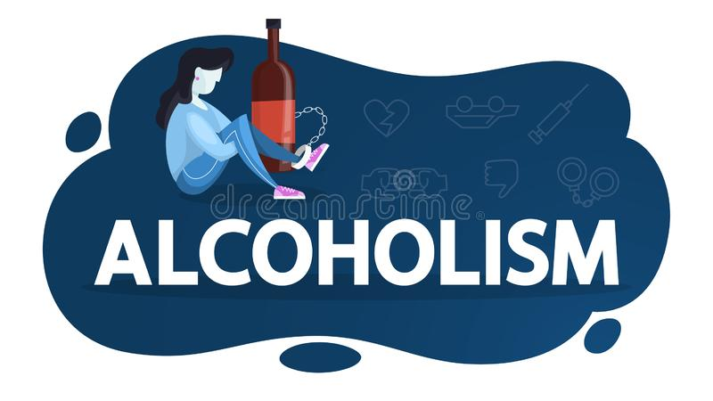 Alcoholism concept. Person chained to the glass. Bottle of drink. Alcohol addiction and danger for health. Vector illustration in cartoon style stock illustration