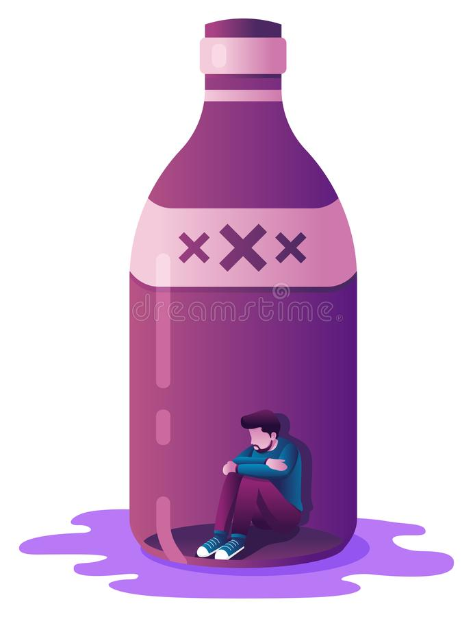 Alcoholism Concept on White vector illustration