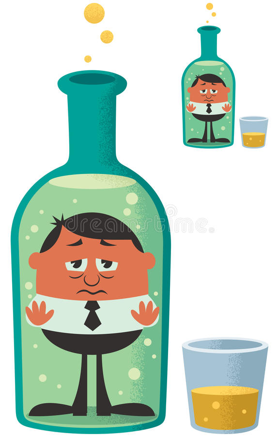 Alcoholism. Conceptual illustration for alcoholism. The small version is with no gradient effects vector illustration