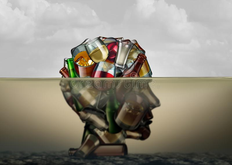 Alcoholism Health Problem. Alcoholism and alcohol use disorder as the health risk to an addiction of drinking alcoholic beverages drowning in despair as a royalty free illustration