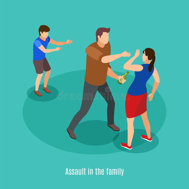 Alcoholism Isometric Background Poster. Alcoholism family violence in front of kids isometric background composition with drunk man fighting with spouse vector stock illustration