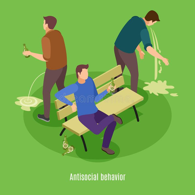 Alcoholism Isometric Background Poster. Alcoholism signs symptoms intoxication vomiting isometric background poster with addicted to excessive drinking man vector illustration