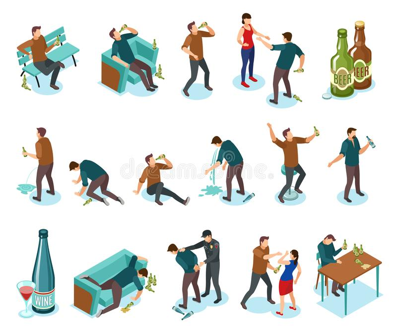 Alcoholism Isometric Icons Set. Alcoholism dependance features symptoms people isometric icons set with wine bottles drinking domestic violence nausea vector vector illustration