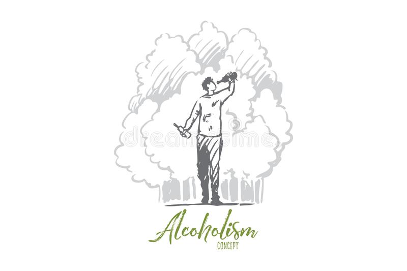 Alcoholism, man, drunk, bottle, alcoholic concept. Hand drawn isolated vector. Alcoholism, man, drunk, bottle, alcoholic concept. Hand drawn drunk man with stock illustration
