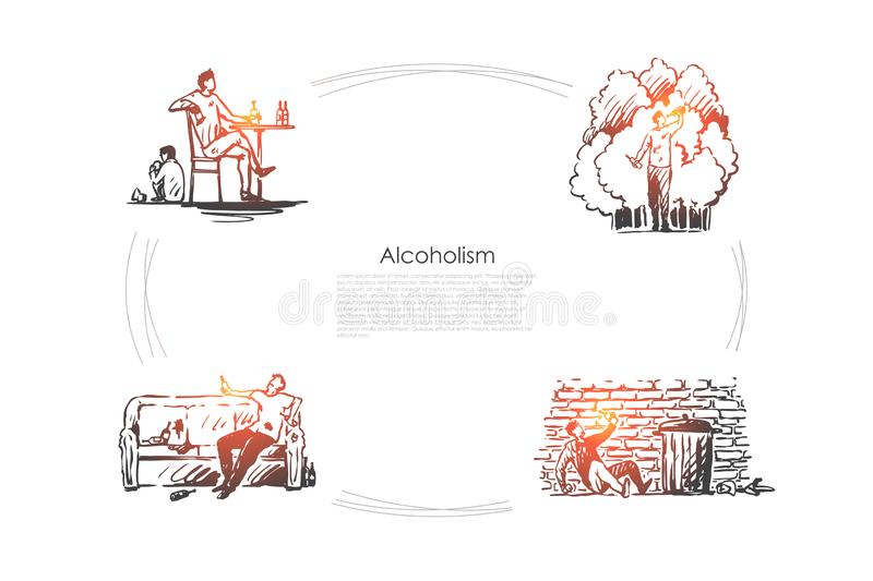 Alcoholism - men drinking alcohol at home and on street outdoors vector concept set. Hand drawn sketch isolated illustration vector illustration
