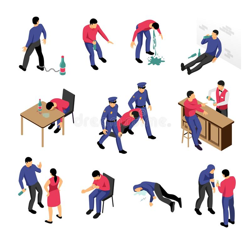 Alcoholism And Narcotics Isometric Set. With drunk and drugged men in various situations isolated vector illustration stock illustration