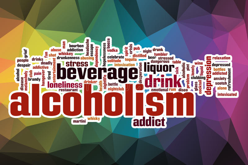 Alcoholism word cloud with abstract background royalty free illustration