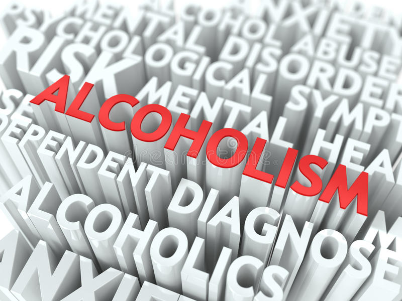 Alcoholism. The Wordcloud Concept. Alcoholism - Wordcloud Medical Concept. The Word in Red Color, Surrounded by a Cloud of Words Gray royalty free illustration