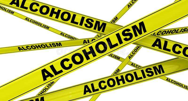 Alcoholism. Yellow warning tapes. Yellow warning tapes with black words ALCOHOLISM also known as alcohol use disorder - AUD. Isolated. 3D Illustration royalty free illustration
