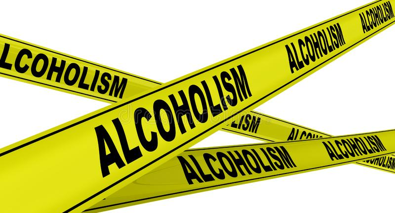 Alcoholism. Yellow warning tapes. Yellow warning tapes with black words ALCOHOLISM also known as alcohol use disorder - AUD. Isolated. 3D Illustration vector illustration