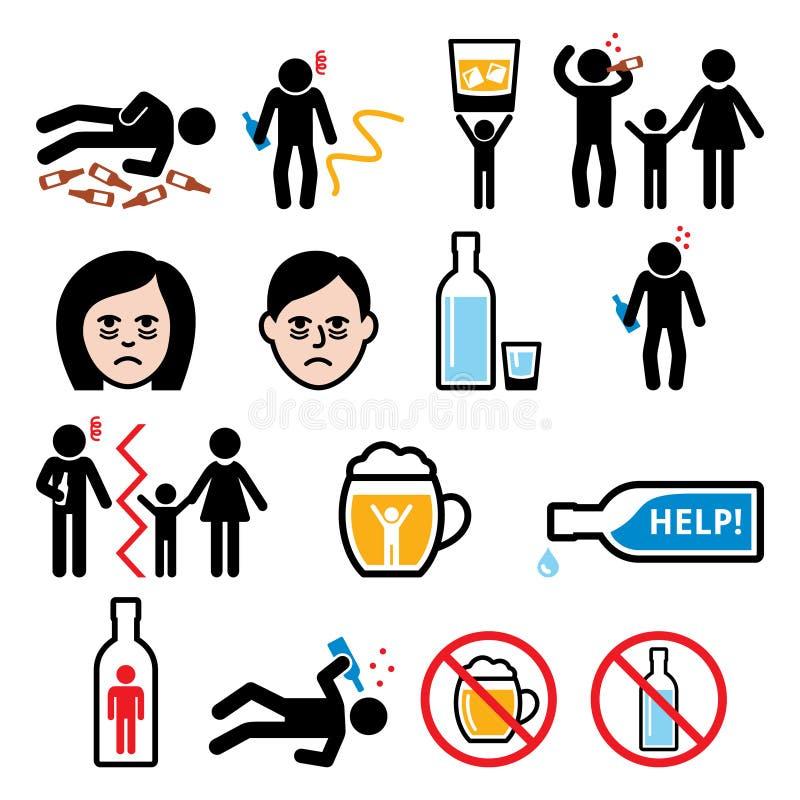 Alcoholisme, gedronken mens, de pictogrammen van de alcoholverslaving royalty-vrije illustratie