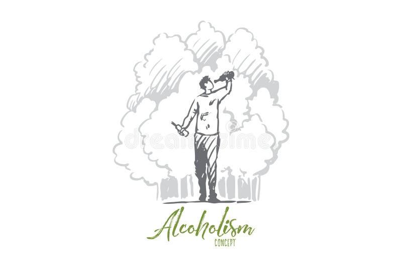 Alcoholisme, gedronken mens, fles, alcoholisch concept Hand getrokken ge?soleerde vector stock illustratie