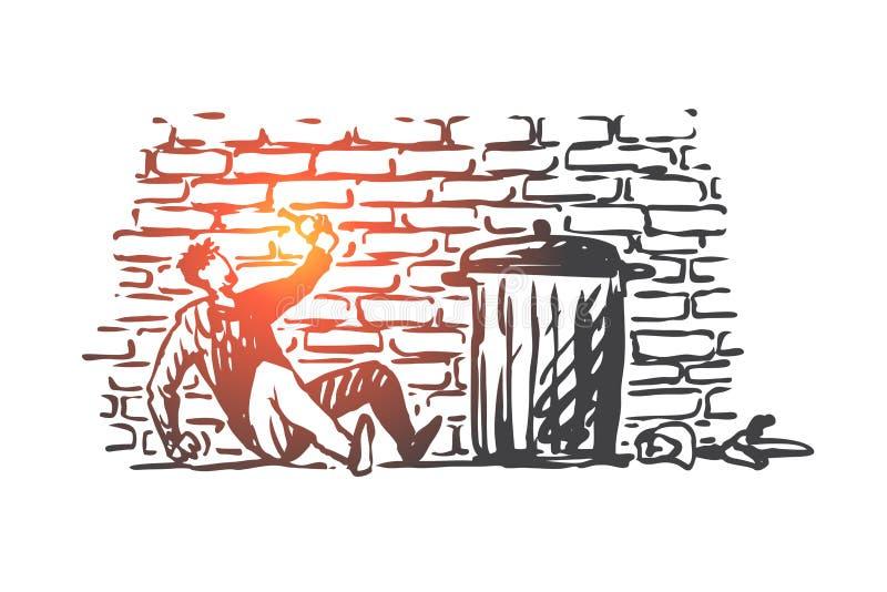 Alcoholismo, hombre, borracho, botella, concepto cansado Vector aislado dibujado mano stock de ilustración