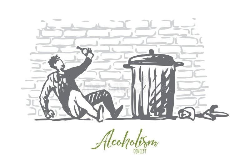 Alcoholismo, hombre, borracho, botella, concepto cansado Vector aislado dibujado mano libre illustration